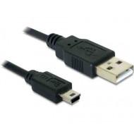 DELOCK Kábel 2x USB 2.0-A male to USB mini 5pin. 1m