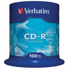 """CD-R lemez, 700MB, 52x, hengeren, VERBATIM """"DataLife"""" CDV7052B100DL"""