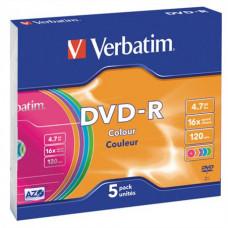 DVD-R lemez, színes felület, AZO, 4,7GB, 16x, vékony tok, VERBATIM
