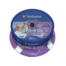 """DVD+R lemez, kétrétegű, nyomtatható, no-ID, 8,5GB, 8x, hengeren, VERBATIM """"Double Layer"""""""