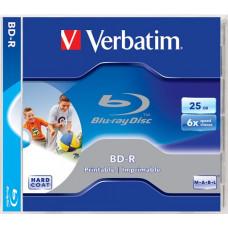 BD-R BluRay lemez, SL, nyomtatható, 25GB, 6x, normál tok, VERBATIM