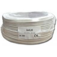 2 x 0.22 2x0.22 eres biztonságtechnikai kábel, sodrott árnyékolás, PVC köpeny, 100m/tekercs.