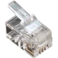 4P4C dugasz moduláris 4P4C dugasz, RJ10 moduláris, réz érintkezők, lapos kábelhez.