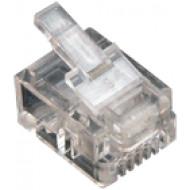 6P2C dugasz moduláris 6P2C, RJ-11, krimpelhető moduláris dugó, réz érintkezők, színtelen, átlátszó.