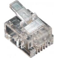 6P4C dugasz moduláris 6P4C, RJ-11, krimpelhető moduláris dugó, réz érintkezők, színtelen, átlátszó.