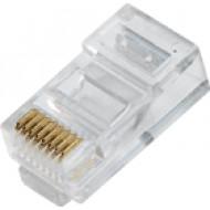 8P8C árnyékolatlan dugasz CAT.5 tömör 8P8C, Cat5, RJ-45, krimpelhető moduláris dugó, UTP kábelhez.