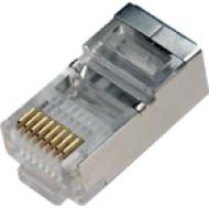 8P8C fémárnyékolt dugasz CAT.5 8P8C, Cat5, RJ-45, krimpelhető moduláris dugó, árnyékolt, flexibilis UTP kábelhez.