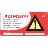 DASPI CARTELLO ATTENZIONE Automata kapu működésére figyelmeztető, fémtábla, 5 nyelvű.
