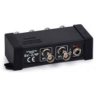 RV-2/4 Aktív videojel elosztó, 2 bemenet, 2 kimenet, BNC csatlakozás, 0-90 MHz, 12 VDC.