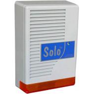 SOLO Kültéri hang-fényjelző szabotázsvédett fémházban, oldalra nyíló előlap.