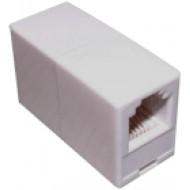 Toldó 6P6C 6P6C telefon vezeték toldó, 2 aljzat, egyenes, fehér.