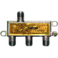 Szélessávú 3-as antennajel elosztó, 5-900 MHz, F csatlakozás, fémház.