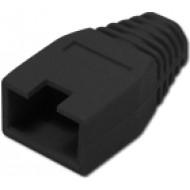Törésgátló 8P8C UTP és FTP dugaszhoz, takaró füles, fekete.