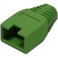 Törésgátló 8P8C UTP és FTP dugaszhoz, kivágott füles, zöld.