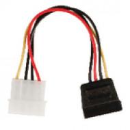 Valueline Belső tápfeszültség adapterkábel, SATA 15 érintkezős aljzat – Molex dugasz, 0,15 m, többszínű