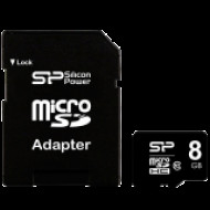 SILICON POWER Micro SDHC Card 8GB (Class 10) with SD Adapter SP008GBSTH010V10-SP