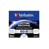 VERBATIM BD-R BluRay lemez, archiváló, nyomtatható, M-DISC, 25GB, 4x, normál tok, VERBATIM