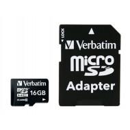 VERBATIM Memóriakártya, Micro SDHC, 16GB, Class 10, adaterrel, VERBATIM