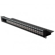 "ROLINE Cat.6 19"" Keystone Patch Panel, 24 Ports, UTP black 26.11.0357-5"