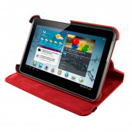 4World Galaxy Tab 2 műbőr tok-állvány, Rotary, 7'', piros 09113
