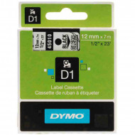 DYMO címke LM D1 alap 12 mm Black/víztiszta