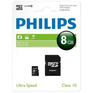 microSDHC  8GB PHILIPS With Adapter