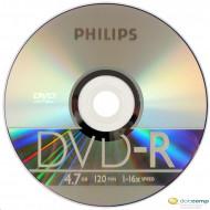 Philips DVD-R 4.7GB 16X DVD lemez slim tokos