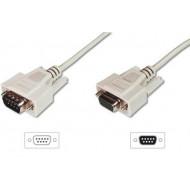 ASSMANN RS232 Extension cable DSUB9 M (plug)/DSUB9 F (jack) 2m beige AK-610203-020-E