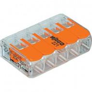 Vezetékösszekötő hajlékony: 0.14-4 mm² merev: 0.2-4 mm² Pólusszám: 5 WAGO 221-415 1 db Átlátszómultisep/Narancs