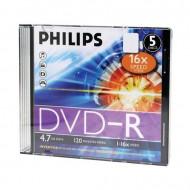 DVD LEMEZ IRHATÓ PHILIPS 4,7 GB DVD-R 16X VÉKONY TOK