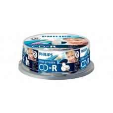 Philips CD-R80IW 52x nyomtatható cake box lemez 25db/csomag CPHPC25