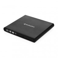Verbatim External CD/DVD ReWriter, USB 2.0, Slim, Black 98938