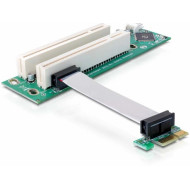 Delock kiemelő kártya PCI Express x1 > 2x PCI 32Bit 5 V, flexibilis kábellel, 9 cm, balos 41341
