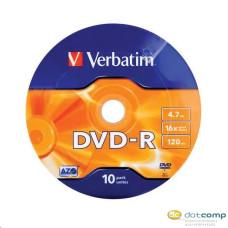 DVD lemez Verbatim 4,7GB -R 16x 10lemez/bulk csomag