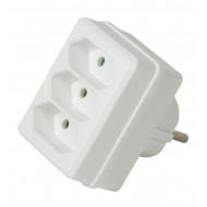 LogiLink Socket Adapter, 3x Euro, White LPS219