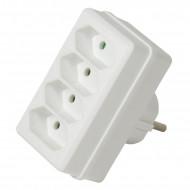 LogiLink Socket Adapter, 4x Euro, White LPS220