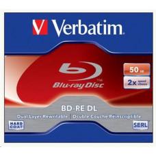 1x5 Verbatim BD-RE Blu-Ray 50GB 2x Speed, White Blue Surface JC 43760