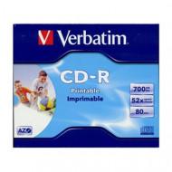 Verbatim CD-R írható CD lemez 700MB matt nyomtatható normál tok