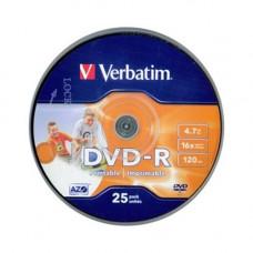 Verbatim DVD-R írható DVD lemez 4,7GB matt szélesen nyomtatható 25db hengeres