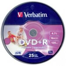 Verbatim DVD+R írható DVD lemez 4,7GB matt szélesen nyomtatható 25db hengeres