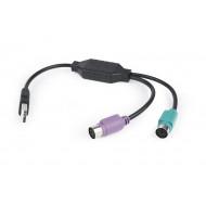 Gembird USB / 2 portos PS/2 konverter USB A csatlakozó/2 x MDIN 6F 50cm kábel UAPS12-BK
