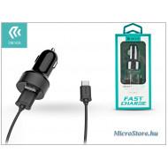 Devia Devia Dual szivargyújtós töltő adapter + USB Type-C kábel 1 m-es vezetékkel - Devia Smart Dual USB Fast Charge for Type-C - 5V/2,4A - black ST301193