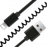 Gembird USB szinkron és töltő spirálkábel iPhone-hoz, 1,5 m, fekete CC-LMAM-1.5M