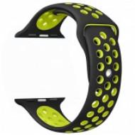 Apple watch szilikon óraszíj, Fekete/Zöld CEL-STRAP-APPLE-GYGR