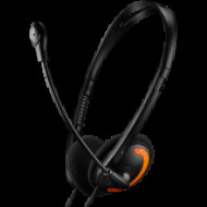 CANYON PC headset with microphone, volume control and adjustable headband, cable 1.8M, Black/Orange CNS-CHS01BO