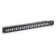 Equip Patch Panel - 769324 (Cat6A Keystone patch panel, 24 port, 1U, árnyékolt, fekete)