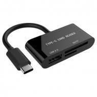 Gembird compact USB Type-C SDXC combo card reader, OTG, black UHB-CR3-02