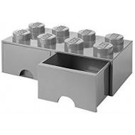 Podwojna szuflada klocek LEGO® z 8 wypustkami (Medium Stone Grey) 40061740