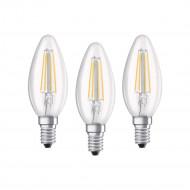 Osram BASE Clas LED fényforrás E14 4W Gyertya meleg fehér filament (3db) /4058075819313/