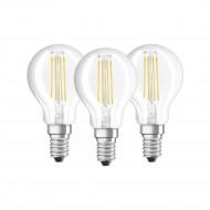 Osram BASE Clas LED fényforrás E14 4W Kisgömb meleg fehér filament (3db) /4058075819337/
